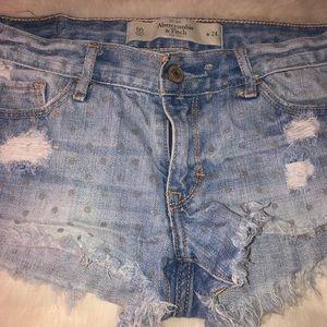 Abercrombie Low Rise Silver Polka Dot Short Shorts